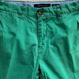 Tommy Hilfiger slim fit green chinos preppy